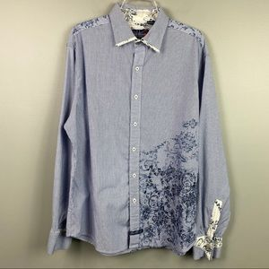 English Laundry Pinstripe Embroidered Blue Shirt